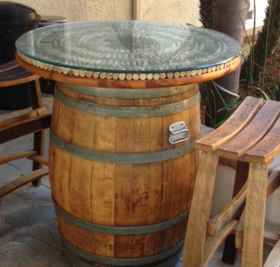 Wine Barrel Pub Table With Cork Inlay